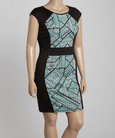 This Mint & Black Geometric Bodycon Dress - Plus by MINX is perfect! #zulilyfinds