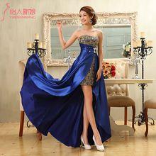 Forma formal do assoalho-comprimento de cetim vestido de paetês strapless ex curto projeto longo vestido de noite LF315(China (Mainland))