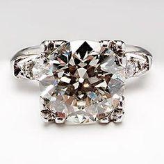 Vintage 3 Carat Transitional VS Diamond Engagement Ring Mill Grain Details Platinum 1940's