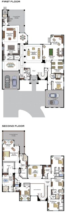 Luxury New Homes in Boca Raton House Plans Mansion, Duplex House Plans, House Layout Plans, New House Plans, Dream House Plans, Modern House Plans, House Layouts, Modern House Design, House Floor Plans