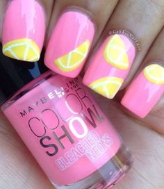 lemon nail art for summer 2016 ornament for females, which is typically made of linen, lemon, becomes a popular idea of nail designs. nails are exquisite and elegant application to finish women's fashion. Food Nail Art, Fruit Nail Art, Get Nails, Hair And Nails, Gorgeous Nails, Pretty Nails, Lemon Nails, Girls Nails, Cute Nail Art