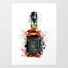 I LIKE THIS V!!!  dont know where i'd put it, but i LIKE IT!!!  Jack Daniels Art Print by MardyArts - $16.00