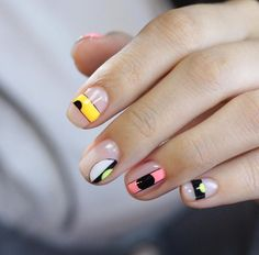 Colorful minimalist nail art