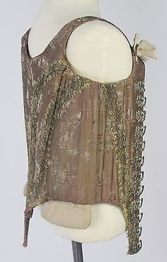 Find It, Own It, Love It! Interest Free Payment Plans Available Eighteenth Century Corset in Silk Brocade with Large Silver Animal (Stag and Bird) Figural Hooks Deaccessioned from the Metropolitan Mus