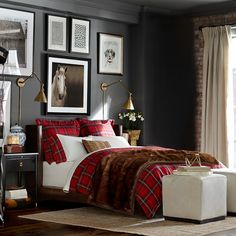 I love the gray walls and red tartan bedding! Create a Winter Retreat With Tartan Bedding Plaid Bedroom, Plaid Bedding, Home Bedroom, Preppy Bedroom, Bedroom Black, Bedroom Themes, Bedroom Decor, Red Bedroom Design, Bedroom Inspo