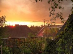 Sunset and Rain from a Patio in Berlin :-)