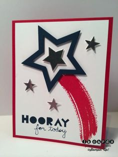 handmade card for Pals Paper Arts 207 ... red, white and blue ... die cut stars ... luv the star trail stamped from watercolor swash ... Stampin'Up!