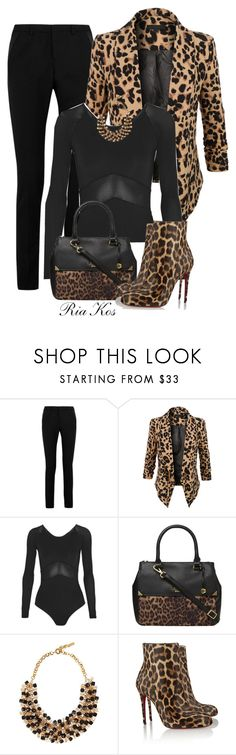 """leopard"" by ria-kos ❤ liked on Polyvore featuring Yves Saint Laurent, LE3NO, Ivy Park, Fiorelli, Etro and Christian Louboutin"