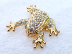 Swarovski Frog Brooch gold tone with clear by MeyankeeGliterz
