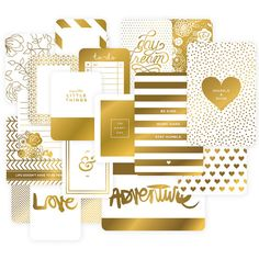 Gold foil adds an extra special touch to any project and this set of Themed Cards is filled with golden designs to dress up your pages. Set includes a total of