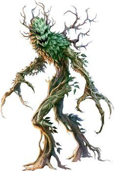 "Creature art for Pathfinder's ""Beastiary Pathfinder: Green Man Tree Monster, Plant Monster, Monster Art, Creature Concept Art, Creature Design, Forest Creatures, Mythical Creatures, Dark Fantasy Art, Fantasy Artwork"