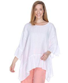 a50b6aaff18 Match Point Asymmetrical Flounce Ruffle Top   Fg Clothing Womens Linen  Clothing, Long Sides,