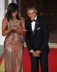 WASHINGTON, DC - OCTOBER 18:  U.S. President Barack Obama and first lady Michelle Obama wait for the arrival of Italian Prime Minister Matteo Renzi and his wife Mrs. Agnese Landini, for a state dinner at the White House, October 18, 2016 in Washington, DC. President Obama is hosting the last state visit of his presidency.  (Photo by Mark Wilson/Getty Images) via @AOL_Lifestyle Read more…