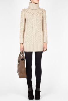 fall/winter sweater with leggings.