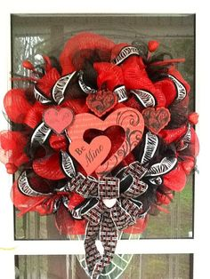 Deco Mesh Valentines Day Wreath by WreathsEtc on Etsy, $105.00