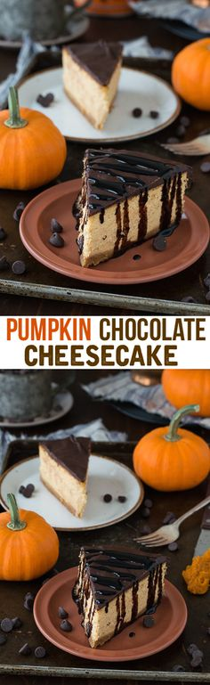 Rich and creamy pumpkin cheesecake topped with chocolate ganache!