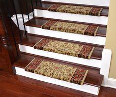 """Dean Non-Slip Tape Free Pet Friendly Stair Gripper Bullnose Carpet Stair Treads - Classic Keshan Antique 31""""W (3) - Dean Stair Treads"""