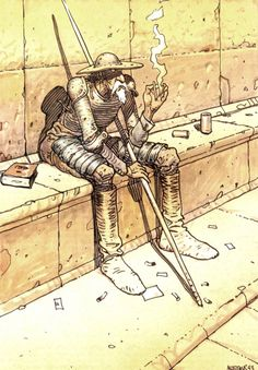 Don Quijote by Moebius. Moebius was pretty much the Pablo Picasso of sci-fi illustration, and he occasionally visited some of the same subject matter as Picasso.