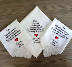 Personalized 3 Wedding Handkerchiefs for Parents by PromiseForever, $51.00