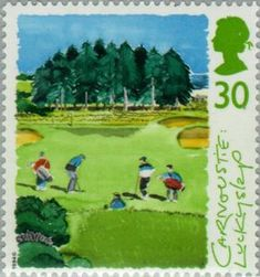 "1994 Great Britain postage stamp commemorating Carnoustie's 15th hole ""Lucky Slap"". 30p. Scottish Golf Course Series."