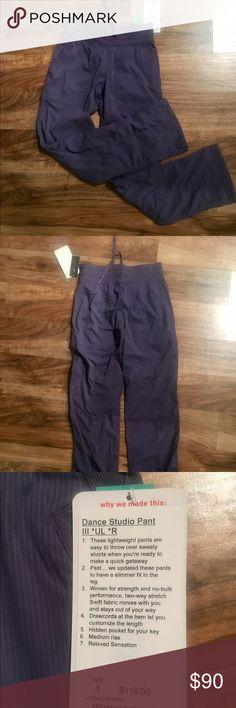 Lululemon Dance Studio Pant III *UL *R Brand new with tags indigo and gray studio pants. Flared bottom. Stretchy waste band. Pockets in the front. Size 4. Very comfortable and cute. lululemon athletica Pants Leggings