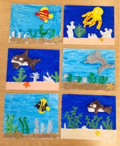 2nd grade mixed media art-clay fish on painted canvas-Art with Mr. Giannetto blog