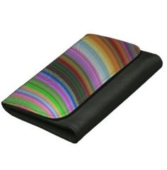 Bend Wallets For Women $45.25 *** Colorful curved stripes - leather wallet