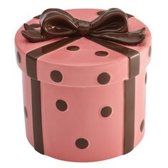 """Anyone who loves baking, or eating cookies, will adore this colorful Cake Boss Serveware Stoneware Cookie Jar in the """"Pink Gift"""" pattern. Hand-painted in vibrant colors, this fun and stylish cookie jar is crafted from durable stoneware, and is perfect for Cupcake Cookie Jar, Ceramic Cookie Jar, Cookie Box, Cookie Gifts, Shaped Cookie, Cookie Jars, Cookie Swap, Pots, Elephant Cookies"""