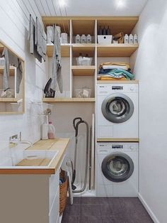 perfect laundry room designs ideas for small space 44 ~ mantulgan.me perfect laundry room designs ideas for small space 44 ~ mantulgan.me - Own Kitchen Pantry Modern Laundry Rooms, Laundry Room Layouts, Laundry Room Remodel, Basement Laundry, Small Utility Room, Utility Room Storage, Laundry Room Organization, Organization Ideas, Laundry Room Design