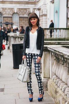 Patterned pants, white shirt, blazer. #style