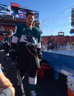 San Jose Sharks forward Logan Couture prepares to take the ice for practice at Levi's Stadium (Feb. 20, 2015).