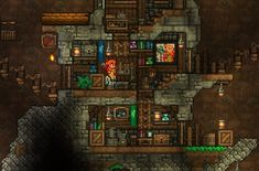 The goblin tinkerer has been busy : Terraria Terraria House Design, Terraria House Ideas, Terraria Tips, Underground Building, Underground Living, Anime Classroom, Best Titles, Biomes, Minecraft Houses
