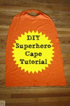 How to Make Superhero Cape from a T-Shirt - Lots of awesome superhero party ideas on the blog