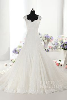 Trendy A-line Straps Train Lace Ivory Sleeveless Lace up-Corset Wedding Dress with Beading CWLT14019
