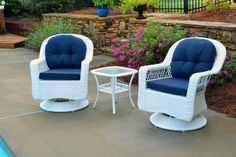 Biloxi 3 Piece Swivel Glider Wicker Bistro Set. Creating an inviting outdoor living space begins with the furnishings. Making the outdoor porch or patio into a fresh, inviting atmosphere requires a focal-point of style. Meridian Outdoor Living's classic rocking chairs are a beautiful centerpiece to add to any home! Bringing any of the beautiful outdoor wicker pieces home is the first step to creating a unique outdoor space that you can relax and unwind in.