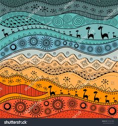 African handdrawn ethno pattern tribal background It can be used for wallpaper web page and others Vector illustration Arte Tribal, Tribal Art, Tribal Background, Motifs Textiles, Afrique Art, Jugendstil Design, African Art Paintings, African Abstract Art, Madhubani Art