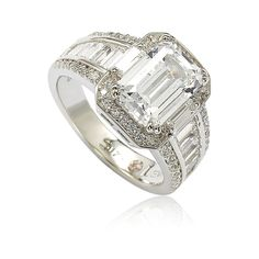 Suzy Levian Sterling Silver Emerald-Cut Cubic Zirconia Engagement Ring, Women's