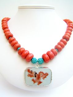 Chinese Dragon Necklace, Orange & Turquoise Beaded Necklace with Pottery Shard Pendant by polishedtwo, $28.00