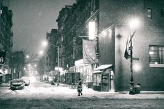 New York City - Snow at Night - Rivington Street   Flickr - Photo Sharing!