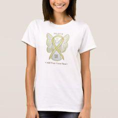 Yellow Awareness Ribbon Angel Custom Cause Shirts for Bladder Cancer or Sarcoma/ Bone Cancer