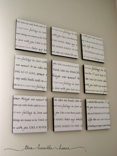 DIY Modge Podge song lyrics  maybe for the huge wall in our bedroom that is looking quite bare