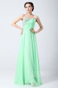 Fancy+Sheath-Column+Sweetheart+Floor+Length+Chiffon+Prom+Dress+with+Draped+and+Crystals+COZF1404E #cocomelody