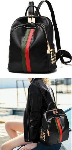 Unique Black PU Green Red Vertical Stripes Bag Frosted Oxford Cloth Rivet  Backpack 18d40d522f