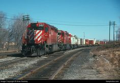 Road:  Canadian Pacific Ry Train Symbol:  CP 501 Train Type:  Intermodal Lead Engine:  CP 5407 Model:  GMD SD40 Consist:  CP 5407-CP 5405-SOO 6400 Location:  London, ON Location2:  Photo Date:  03/12/1989 Submission Date:  01/30/2014 Contributor:  Brian Rackley