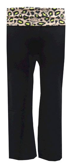 Hello Kitty Black Yoga Pants With Leopard Print Waist, $18.50  These flair leg style yoga pants for women feature a simple black pant with a leopard printed waistband with Hello Kitty faces. Perfect to coordinate with our Hello Kitty tanks and tees for a comfy workout or night on the couch! Machine washable and easy to care for. Junior Cut.