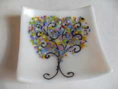 Colorful Funky Glass Frit rainbow tree mini dish by sherrylee16, $15.00