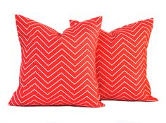 2 outdoor pillow covers, Coral zig zag Pillow, decorative throw pillow, Nautical Pillow, accent pillow, Coral Pillow, by ThatDutchGirlHome on Etsy