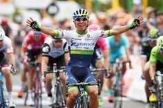 Caleb Ewan celebrates his stage 1 win at the Tour Down Under