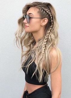 Pretty side braid on dark to blonde long hair