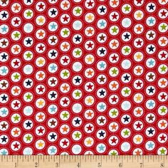 Riley Blake Play Ball Star Red from @fabricdotcom Designed by Lori Whitlock for Riley Blake, this cotton print fabric is perfect for quilting and apparel. Colors include orange, brown, green, yellow, white, shades of blue, and shades of red. Main Street Theme